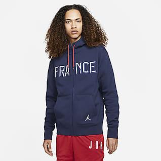 France Jordan Flight Tam Boy Fermuarlı Fleece Erkek Kapüşonlu Üst