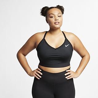 Nike Dri-FIT Indy Dámská sportovní podprsenka slehkou oporou avycpávkami (větší velikost)
