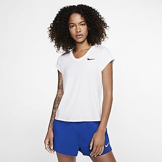 NikeCourt Dri-FIT Kortärmad tenniströja för kvinnor