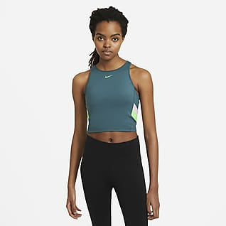 Nike Canotta corta da training a righe a blocchi di colore - Donna