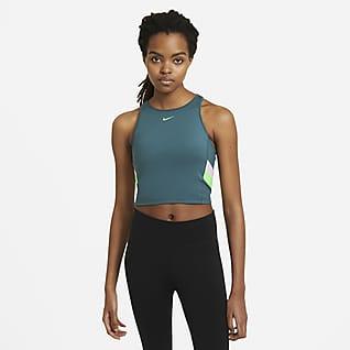 Nike Gestreepte korte trainingstanktop met kleurblokken voor dames
