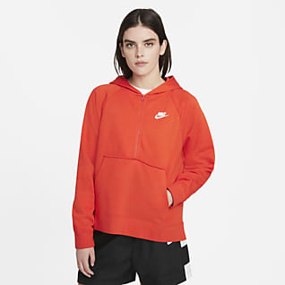 Nike Sportswear Club Essential Sudadera con gorro de tejido Fleece con cierre de 1/4 para mujer