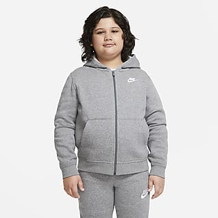 Nike Sportswear Club Fleece Felpa con cappuccio e zip a tutta lunghezza (Extended Size) - Ragazzo