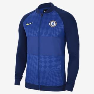 Chelsea FC Chamarra de entrenamiento de fútbol con cierre completo para hombre