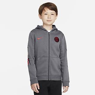 Paris Saint-Germain Tam Boy Fermuarlı Fleece Genç Çocuk Kapüşonlu Üstü