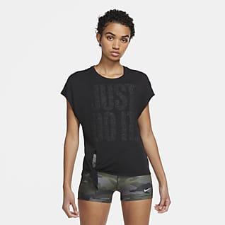 Nike Dri-FIT Camiseta de entrenamiento con nudo y brillo para mujer