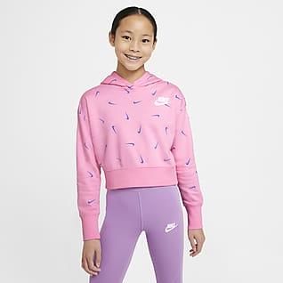 Nike Sportswear Kort huvtröja i frotté för ungdom (tjejer)