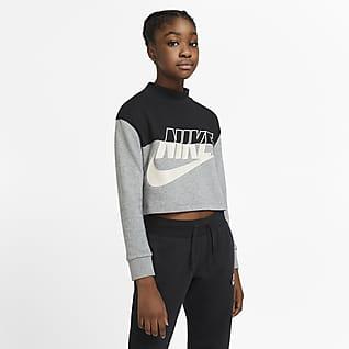 Nike Sportswear Kurz-Rundhalsshirt aus French-Terry-Material für ältere Kinder (Mädchen)