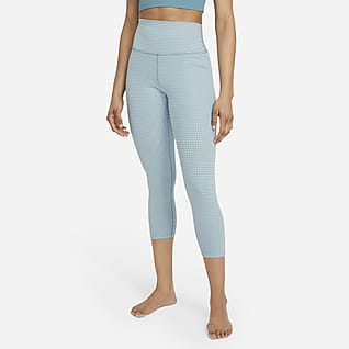 Nike Yoga Leggings cortos de talle alto de tejido Gingham - Mujer