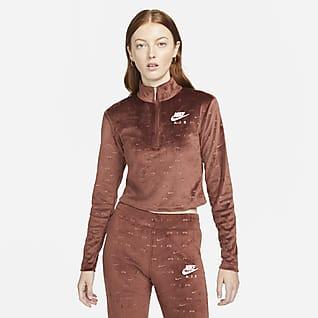 Nike Air Langermet overdel av velur med glidelås i halsen til dame