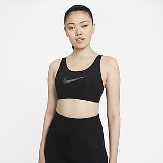 Nike Dri-FIT Swoosh Icon Clash สปอร์ตบราผู้หญิงซัพพอร์ตระดับกลางแบบสายเส้นเล็กมีแผ่นฟองน้ำ 1 ชิ้น