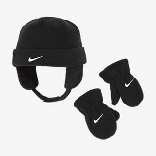 Nike Estuche con gorro de tejido Fleece para bebé y mitones