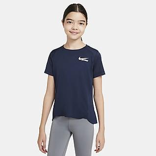 Nike Prenda superior de softball de manga corta para niña talla grande