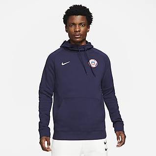Chile Sudadera de fútbol con capucha y sin cierre de tejido Fleece para hombre