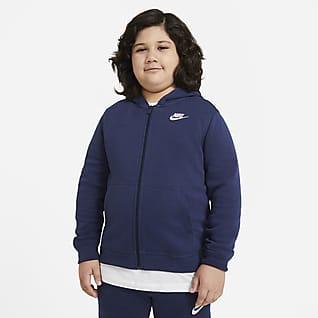 Nike Sportswear Club Fleece Huvtröja med hel dragkedja för ungdom (killar) (utökade storlekar)