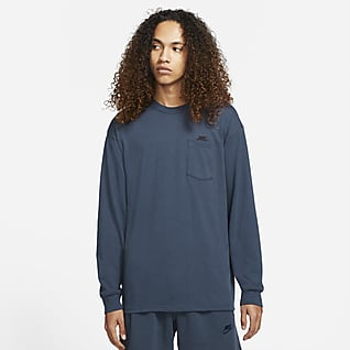 Nike Sportswear Premium Essentials Playera de skateboarding con bolsillo de manga larga para hombre