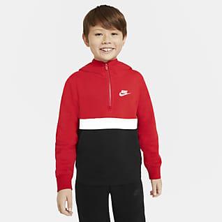 Nike Sportswear Club Hettegenser med halv glidelås til store barn (gutt)