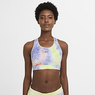 Nike Dri-FIT Swoosh Sujetador deportivo teñido con almohadilla de una sola pieza de sujeción media para mujer
