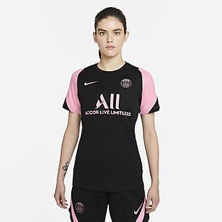 Paris Saint-Germain Strike Uit Nike voetbaltop met Dri-FIT en korte mouwen voor dames