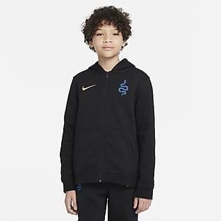 Ίντερ Φλις μπλούζα με κουκούλα και φερμουάρ σε όλο το μήκος για μεγάλα παιδιά