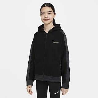 Nike Therma Träningshuvtröja med hel dragkedja för tjejer