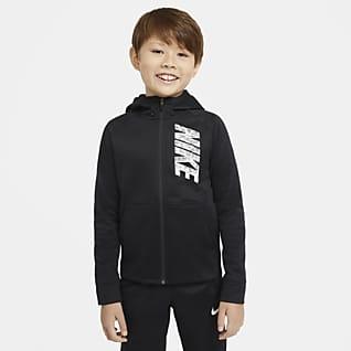 Nike Therma Tréninková mikina s kapucí, zipem po celé délce a grafickým motivem pro větší děti (chlapce)