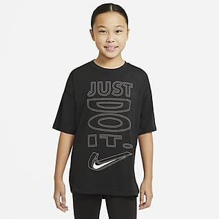 Nike Dri-FIT เสื้อเทรนนิ่งแขนสั้นเด็กโต (หญิง)