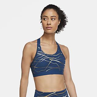 Nike Swoosh Icon Clash Brassière de sport à imprimé et maintien normal pour Femme