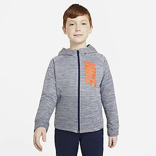 Nike Therma Μπλούζα προπόνησης με κουκούλα, σχέδιο και φερμουάρ σε όλο το μήκος για μεγάλα αγόρια