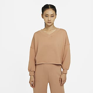 Nike Yoga Luxe เสื้อฟลีซคอวีผู้หญิง