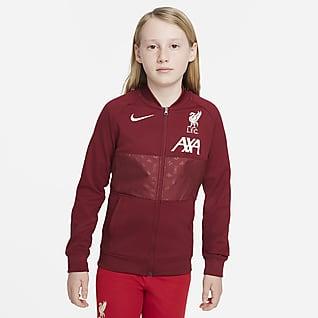 Liverpool FC Fodboldløbejakke med lynlås i fuld længde til større børn