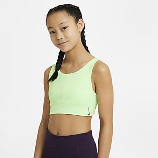 Nike Swoosh Luxe Sujetador deportivo de líneas largas para niñas talla grande