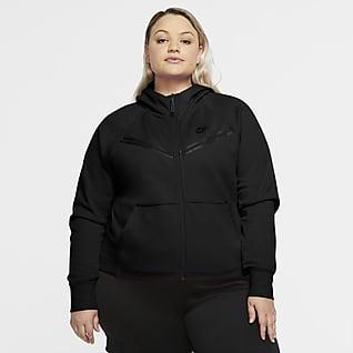 Nike Sportswear Tech Fleece Windrunner Hættetrøje med lynlås i fuld længde til kvinder (Plus Size)