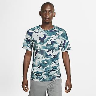 Nike Pro Herentop met camouflageprint en korte mouwen