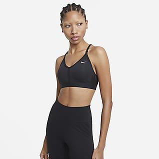 Nike Dri-FIT Indy Спортивное бра с вкладышем, V-образной горловиной и легкой поддержкой