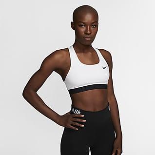 Nike Dri-FIT Swoosh Sujetador deportivo sin almohadilla de sujeción media para mujer