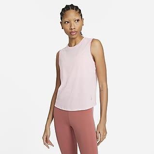 Nike Yoga Camiseta de tirantes con orilla de encaje para mujer