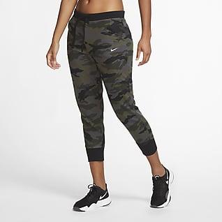 Nike Dri-FIT Get Fit 7/8-Camo-Trainingshose aus Fleece für Damen