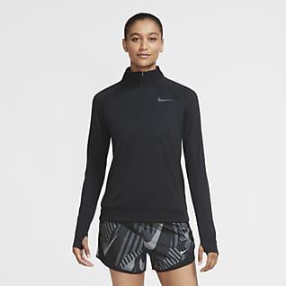 Nike Pacer Женская беговая футболка с молнией длиной 1/4