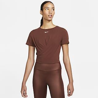 Nike Dri-FIT One Luxe Gedraaide damestop met standaardpasvorm en korte mouwen