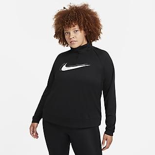 Nike Dri-FIT Swoosh Run Tussenlaag-hardlooptop met halflange rits voor dames (Plus Size)