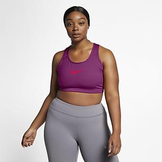 Nike Swoosh 女款中度支撐型無襯墊運動內衣 (加大尺寸)
