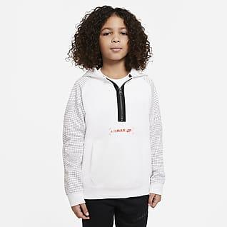 Nike Sportswear Air Max Fleecehettegenser med glidelås i halsen til store barn (gutt)