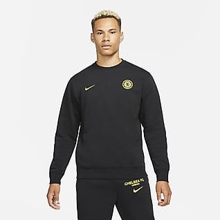 Chelsea FC Herren-Fleece-Sweatshirt mit Rundhalsausschnitt