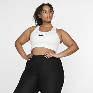 Nike Swoosh Ovadderad sport-BH med mediumstöd för kvinnor (Plus Size)
