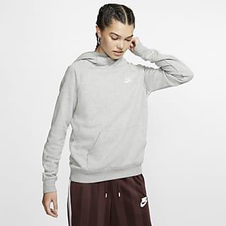 Nike Sportswear Essential Sudadera con capucha sin cierre de tejido Fleece y cuello en embudo para mujer