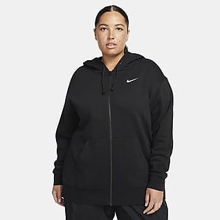 Nike Sportswear Essentials Huvtröja i fleece med hel dragkedja för kvinnor (Plus Size)