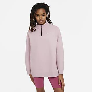 Nike Sportswear Sudadera de tejido Fleece para mujer con cierre de 1/4