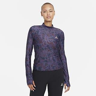 "Nike Dri-FIT ADV ""Crater Lookout"" Camisola recortada com estampado integral para mulher"