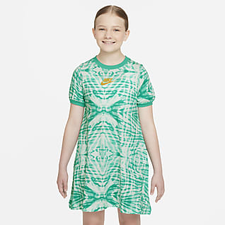 Nike Sportswear Vestido de manga corta con estampado para niñas talla grande